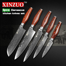 2016 XINZUO 5 pcs kitchen knives set Damascus kitchen knife chef cleaver knife fruit knife color wood handle free shipping