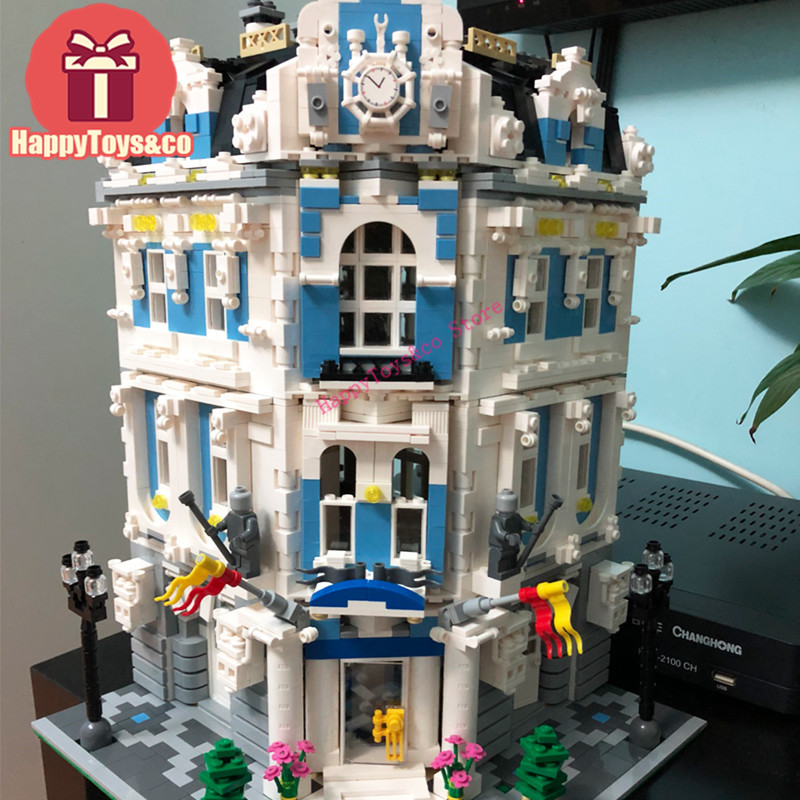 Lepin New Street Scene series 3196Pcs The Sunshine Hotel toys For Children Gift 15018 Building Blocks Set Compatible Education lepin 15018 3196pcs creator city series sunshine hotel model building kits brick toy compatible christmas gifts
