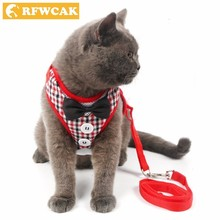 RFWCAK 1 Set Pet Cat Dog Harness Safety Walking Collar Leash Traction Elegant Sweet Style Cute Jacket Products