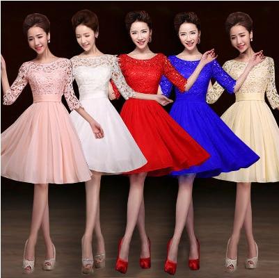 25dc31b67ceb8 knee length bridesmaids royal blue red bridesmaid dress elegant pink bride  maid with half sleeve for wedding guest B2852