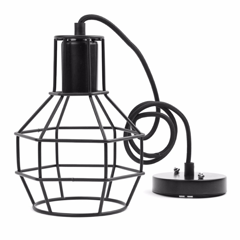 Vintage Indoor Lighting Retro Industrial Painted Pendant Iron Cage Lampshade American Country Style Light Fixture