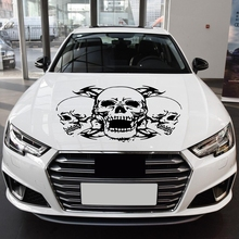 1Pc Skull Head Totem Auto Sticker Car Body Racing Side Door Long Stripe Stickers Vinyl Decal Three Totems