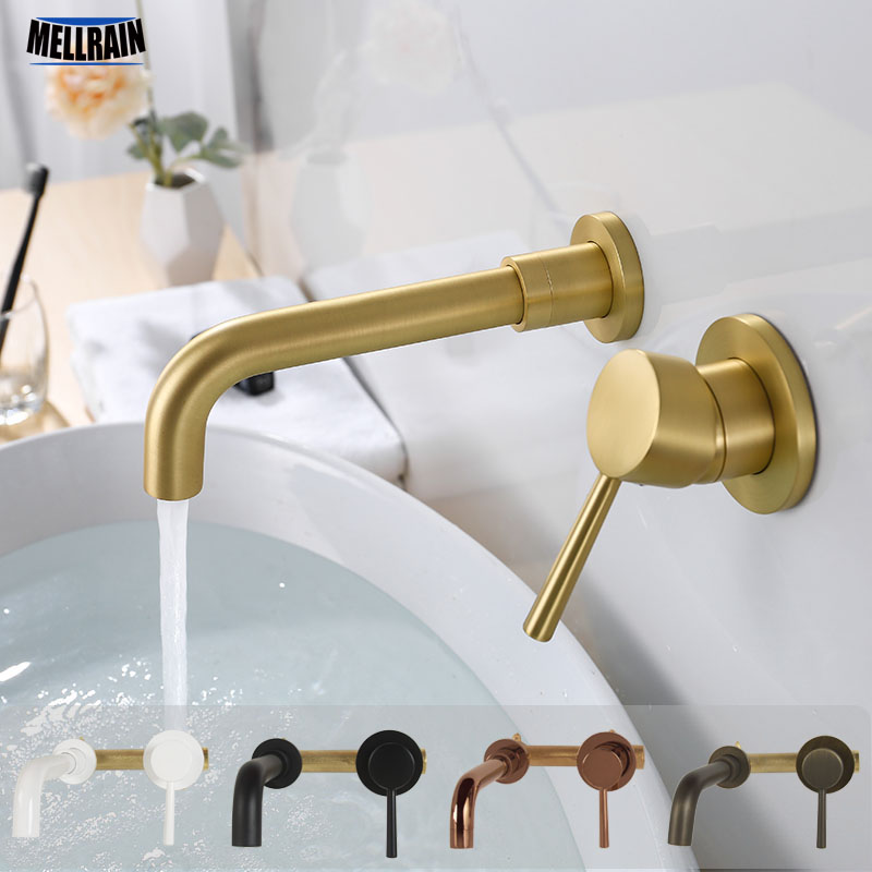 Solid Brass Wall Mounted Basin Mixer Solid Brass Black Gold Chrome Plated Bathroom Faucet Single Handle