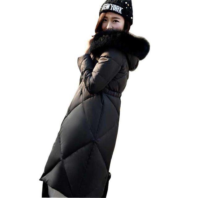Corea del abrigo de invierno de alta calidad pato blanco abajo chaqueta de las mujeres bienes fox cuello de piel delgada más tamaño con capucha hacia abajo abrigo kp11147