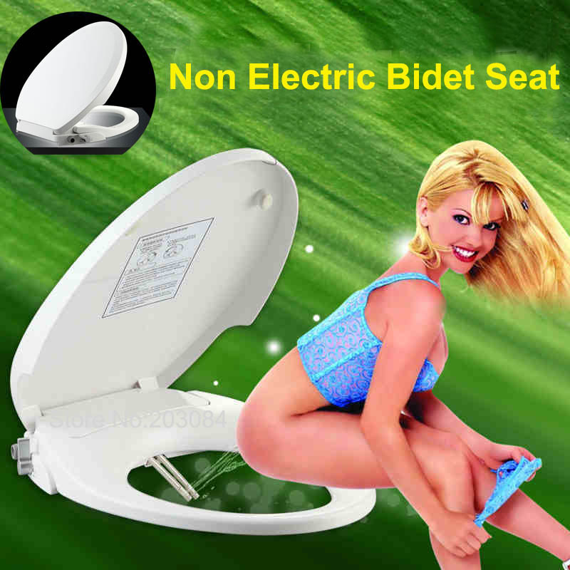 Hibbent Non Electric Bidet Toilet Seat Dual Nozzles Bathroom Bidet Seat with Sprayer Round Elongated European