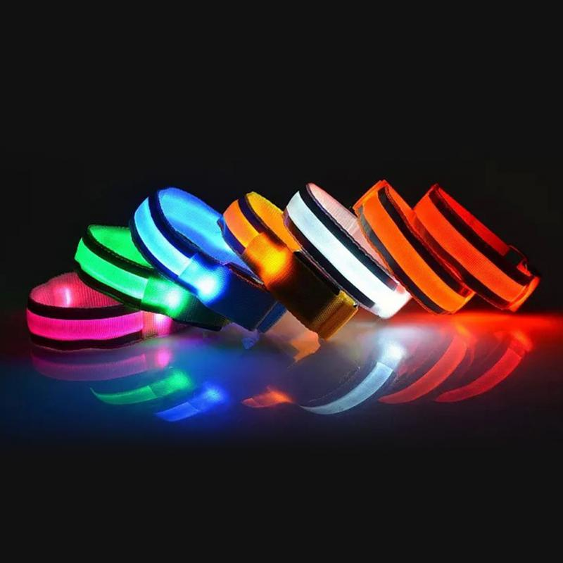 Image 2 - LED Reflective Light Arm Armband Strap Safety Belt For Night Running Cycling Hand Strap Wristband Wrist Bracelets #18-in Running Arm Warmers from Sports & Entertainment