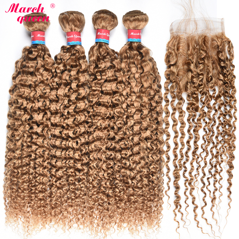 #27 Honey Blonde Color Brazilian Hair Weave Bundles With Closure 100% Human Hair Extensions 4 Bundles Curly Hair With Closure