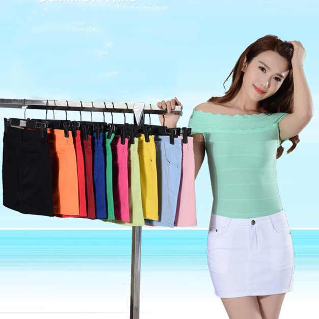 14027f62f6f Womens Female Summer Girl Jeans Skirts Cotton Black Candy Color Mini Pencil  Denim Skirts Women Plus
