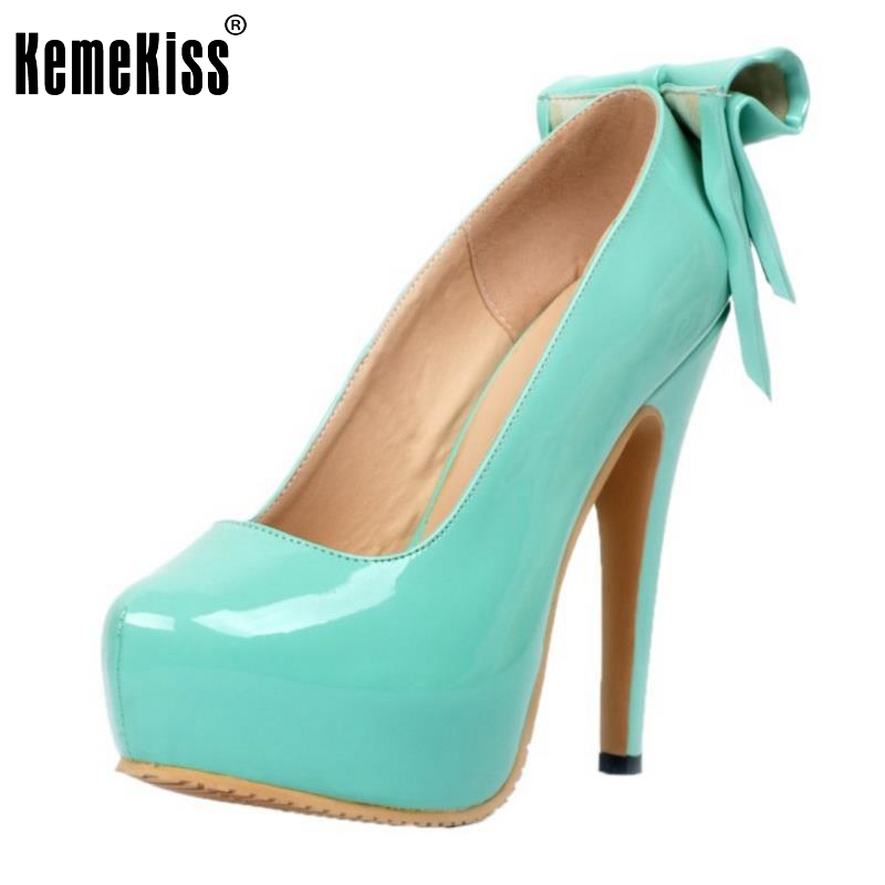 Women Platform High Heel Shoes Fashion Lady Bowtie Bowknot Heels Pumps Woman Sexy Party Wedding Heeled Footwear Shoes Size 34-47 summer platform wedges party shoes for woman extreme high heels sexy wedding shoes woman comfort female shoes heel