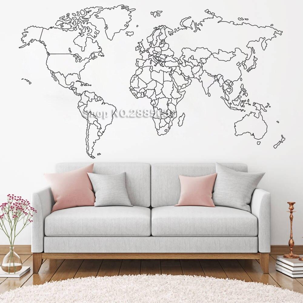 Mapa do mundo adesivo de parede para o quarto decorativo removível adesivo vinil decalque da parede criativa decoração para casa novo design lc459