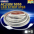 AC 220v RGB LED Strip Light SMD 5050 ip67 7colors & rgb choose + Power Plug + Remote Control 60leds/m led Waterproof Strip Light