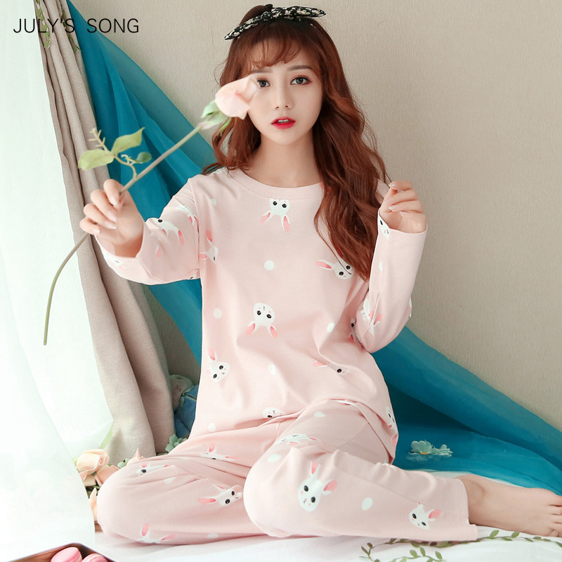 JULY'S SONG Women Pajamas Set Spring Autumn New Thin Cartoon Printed Long Sleeve Cute Sleepwear Casual Homewear Female Pyjamas(China)