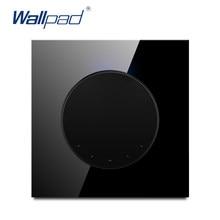 Wallpad L6 – panneau en verre trempé noir, 1 bouton, interrupteur mural à bascule intermédiaire LED