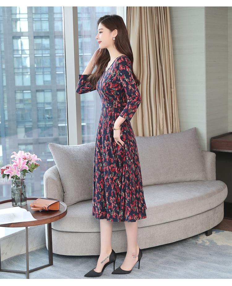Autumn Winter New 3XL Plus Size Vintage Midi Dresses 2018 Women Elegant Bodycon Floral Dress Party Long Sleeve Runway Vestidos 30
