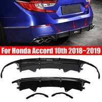 3Pcs Black Achterbumper Diffuser Body Kit Lip Cover Trim voor Honda Accord 2018 ~ 2019 Auto Exterieur deel Bumper Rok Spoiler-in Bumpers van Auto´s & Motoren op