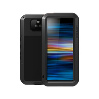 Shockproof Armor Aluminum Metal Case For Sony Xperia 10 Case Soft Silicone Tempered Glass Cover For Sony Xperia 10 Plus Fundas