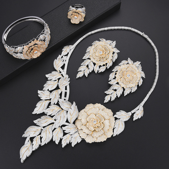 missvikki Trendy Luxury Valuable Peony AAA CZ Big Flowers Jewelry Set Necklace Bangle Earrings Ring For Women Stage Performance