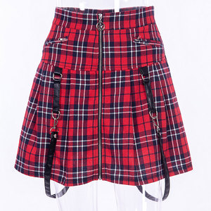 Image 5 - InstaHot Halloween Gothic A Line Skirts Women Autumn Zipper Pleated Plaid School  Mini Skirt Strap Sexy Solid Suspender Bottom