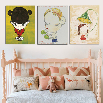 3 Panels Yoshitomo Nara Cartoon Girls Sleepwalking Doll Canvas Painting Poster Print Scandinavian Pop Art For Kids Room Decor image