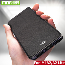 Mofi Leather Flip Case Voor Xiaomi Mi A2 Lite Cover Smart Week Sleep Shell Volledige Protector Xiomi 128Gb Xaomi 64Gb Funda Matte Capa