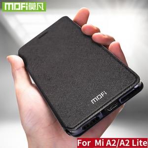 Image 1 - Xiaomi Mi A2 Lite 커버 용 Mofi 가죽 플립 케이스 Smart Week 수면 쉘 전체 보호기 Xiomi 128gb xaomi 64gb Funda Matte Capa