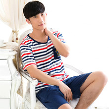 New Arrival Striped Pajama Set Sleepwear Sexy Mens Underwear Tees Undershirts Tshirts Casual Lounge&Sleep Sets Navy Blue Shorts