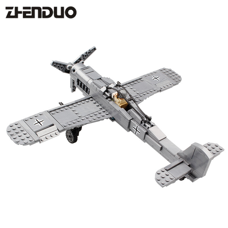 KAZI 82006 World War Classical German Air Force Model Military Building Blocks Educational Toy Fw190 Fighter Plane for Kids 4pcs lot world war ii troops military german collector s edition kid baby toy figure building blocks set model minifigures brick