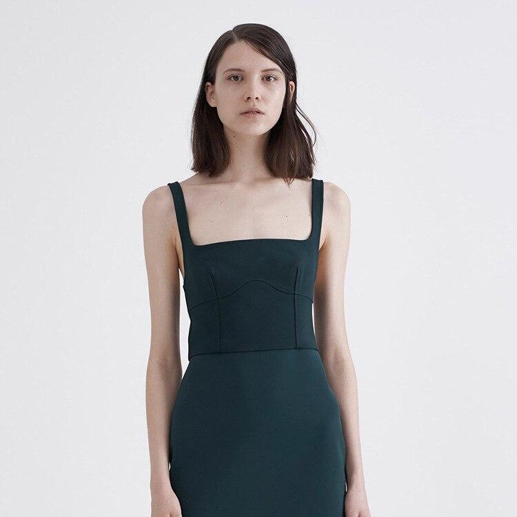 Summer 2019 New Women Wear European American Collar Brocade Cotton with Chest Cushion Suspender Shoulder Strap Tight Vest Women