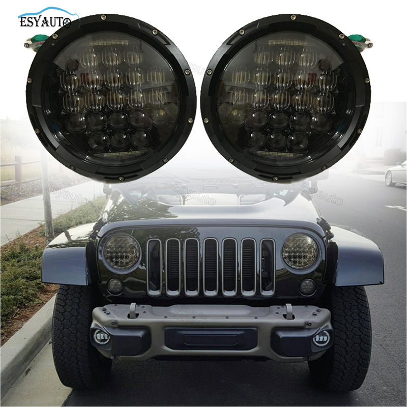 7inch 5D LED Headlights 75W DRL High Low Beam Daymaker Off Road Headlamp Replacement for Jeep Wrangler JK LJ TJ (2 PCS) 1pcs 7 80w headlamp led headlight with drl for jeep wrangler jk tj fj harley off road lights high low beam new free shipping
