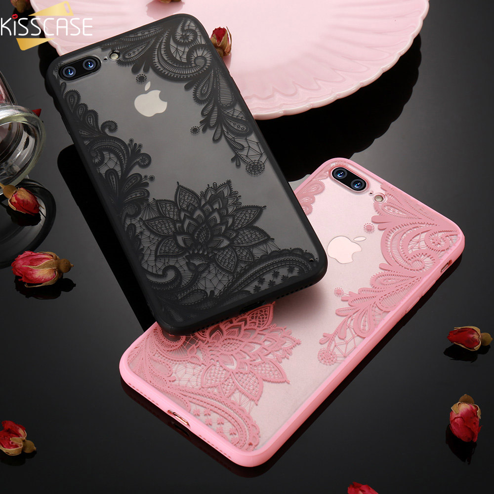 KISSCASE Luxury Lace Flower Case For IPhone 8 Plus 8 7 Vintage Floral Case For IPhone 7 Plus 11 7 6S 6 Plus 5S 5 XS Max XR X Bag