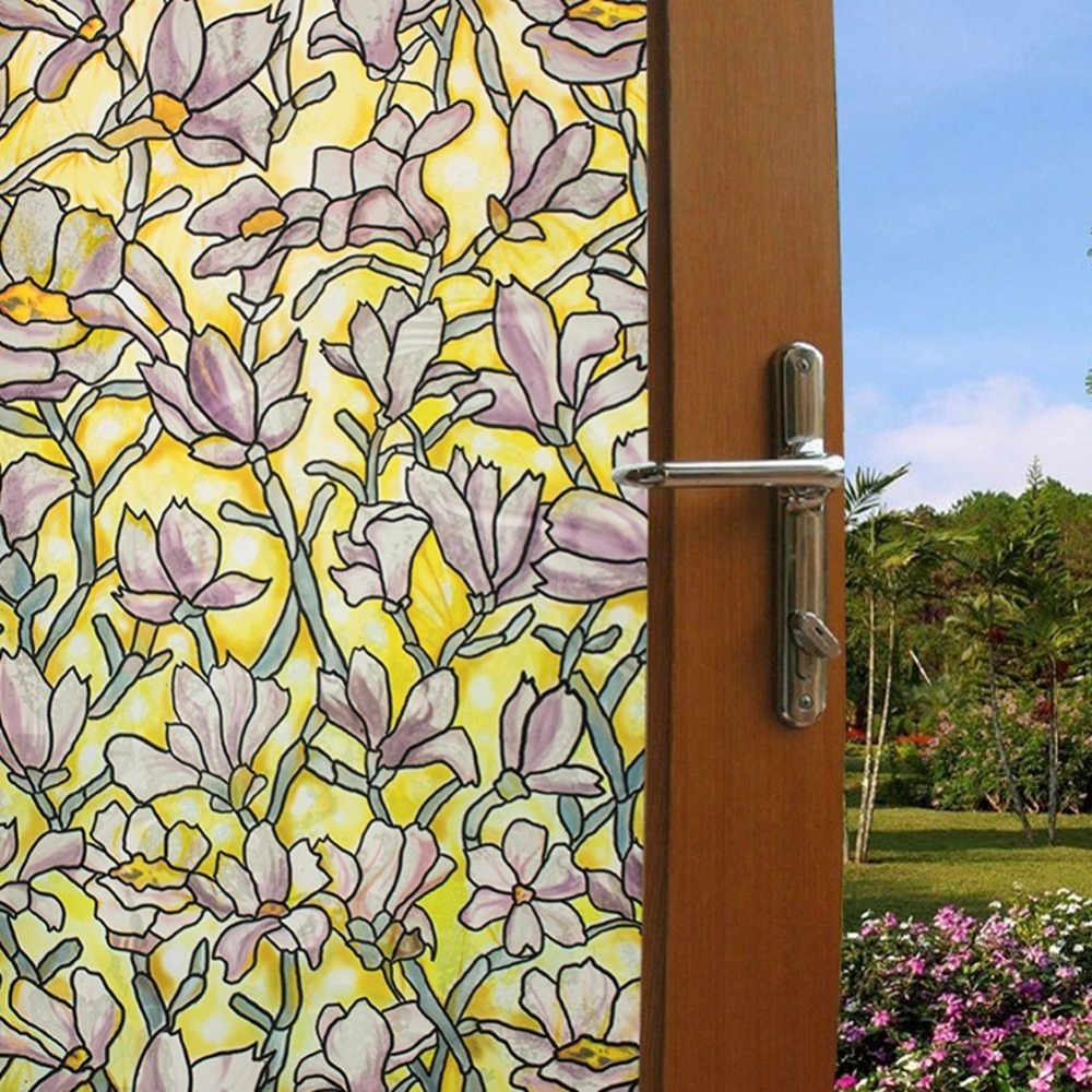 45x200cm flower static cling window sticker stained glass wi