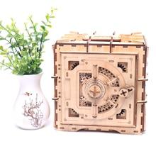 Caja de madera para niños, modelo mecánico con personalidad, inserto de hechizo en 3D, hucha, juguete creativo DIY, caja fuerte de madera