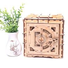 Persönlichkeit mechanische modell lock box holz 3D zauber einsatz piggy bank kreative spielzeug DIY holz sicher kind geschenk