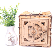 Personality mechanical model  lock box wooden 3D spell insert piggy bank creative toy DIY wooden safe child gift