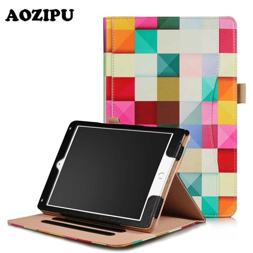 AOZIPU Smart Sleep Case for iPad 2017 9.7 & for iPad Air 2 9.7 Tablet Universal PU Leather Stand Protective Case Cover Capa rygou for ipad air 1 air 2 case wake up sleep function smart cover tablet pu leather case for flip cover ipad air 2 tablet