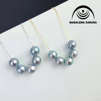 MADALENA SARARA AAA Japanese Saltwater Pearl Gray Brightness 7 7.5mm Sterling Silver Link Chain Necklace