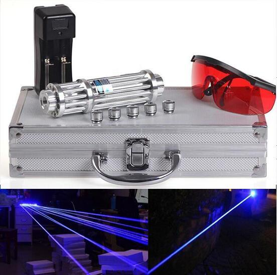 Strongest 450nm High-power blue laser pointer burning match/dry wood/candle/black/cigarette+glasses+Charger+Gift box