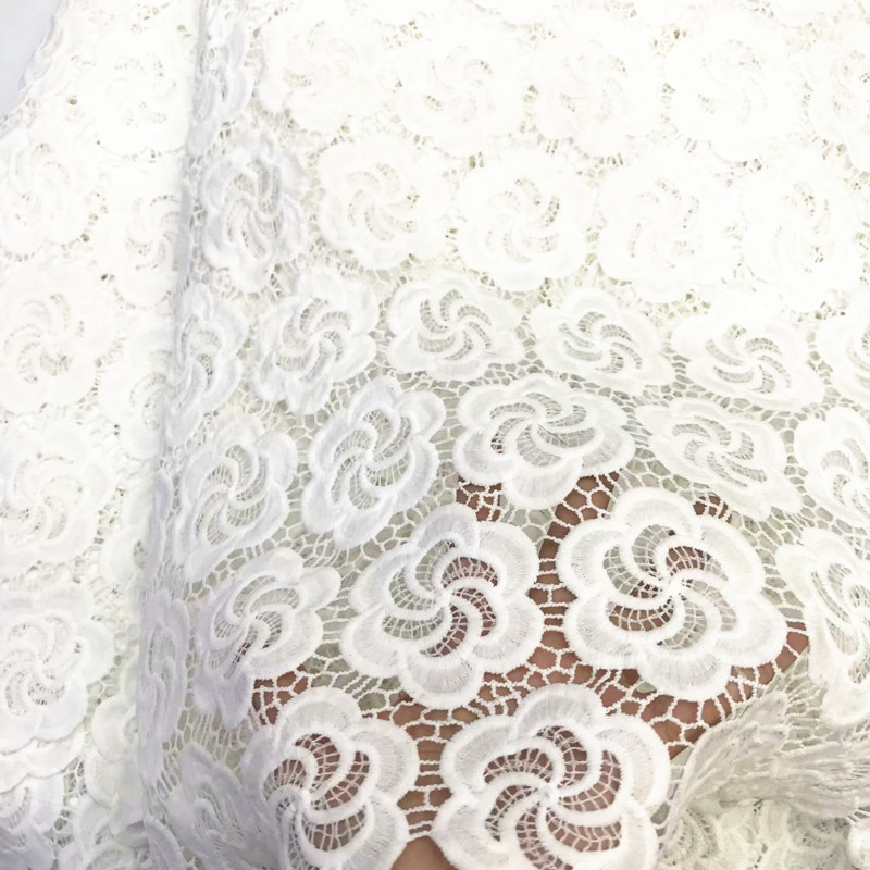 white colour milk silk lace water soluble lace fabric good quality milk silk lace fabric for