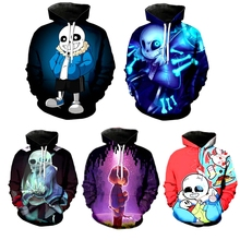 3D Skull Print Undertale Sans Papyrus Hoodie Cosplay Sweatshirt Fashion Women Men Hoodies Pullover Top Halloween Scary Costumes
