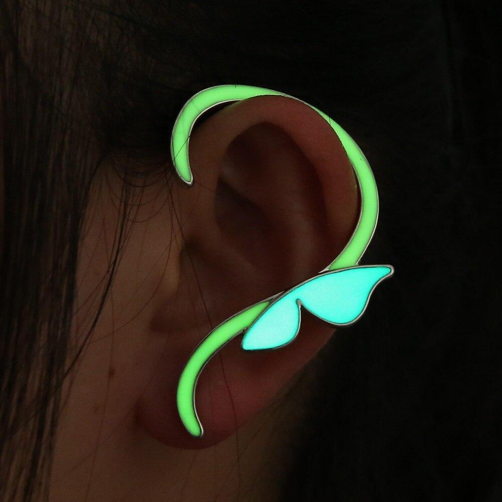 29656a9c78c3e Nova moda moda Punk Ear Cuff borboleta brincos brilhando no escuro mulheres  ouvido clipe brinco para mulheres