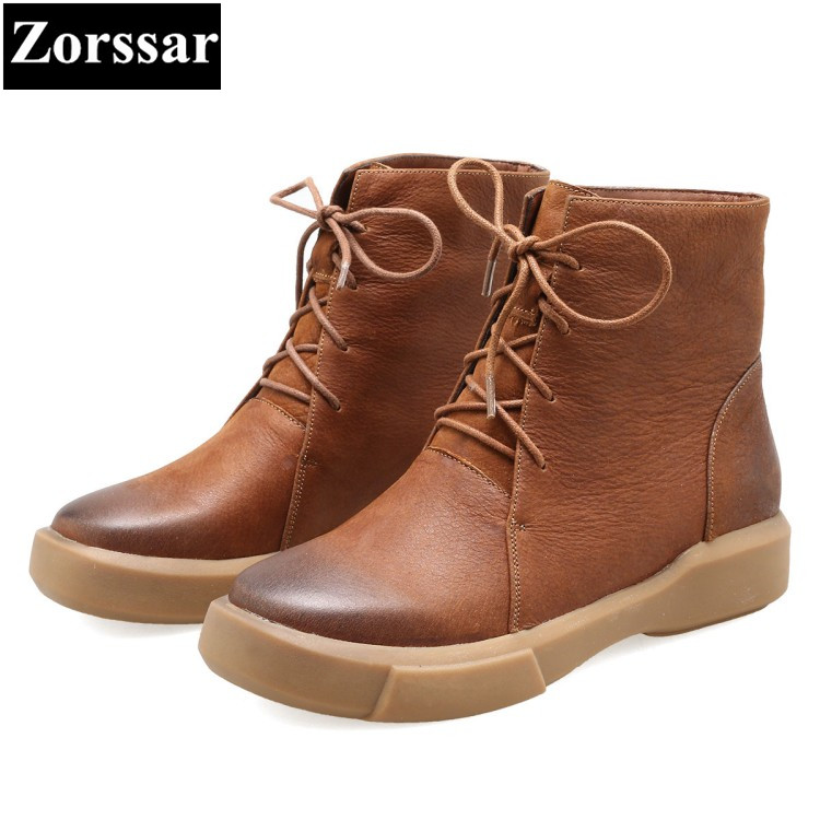 {Zorssar} 2018 NEW Fashion Women Boots Casual Flat heel ankle boots Genuine Leather womens Martin boots female flats shoes black women boots flat heel casual