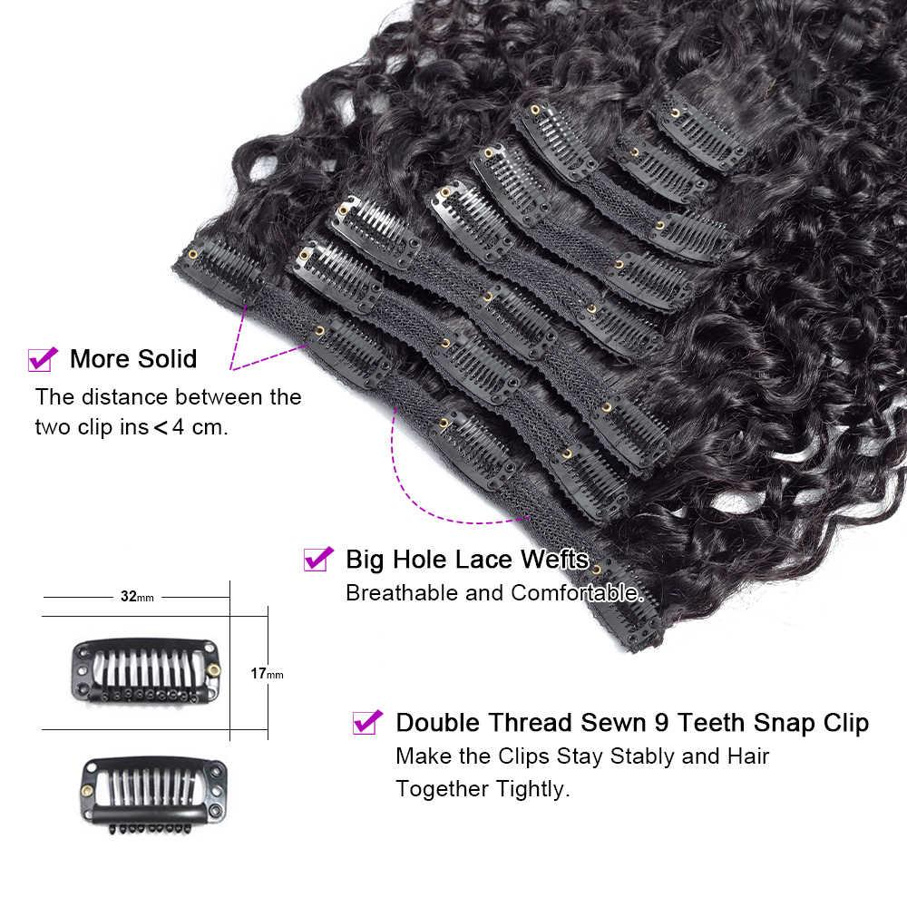 Clip rizado mongol rizado en extensiones de cabello humano 8 unids/set Clips de relación media en 4B 4C pelo no remy Color negro Natural