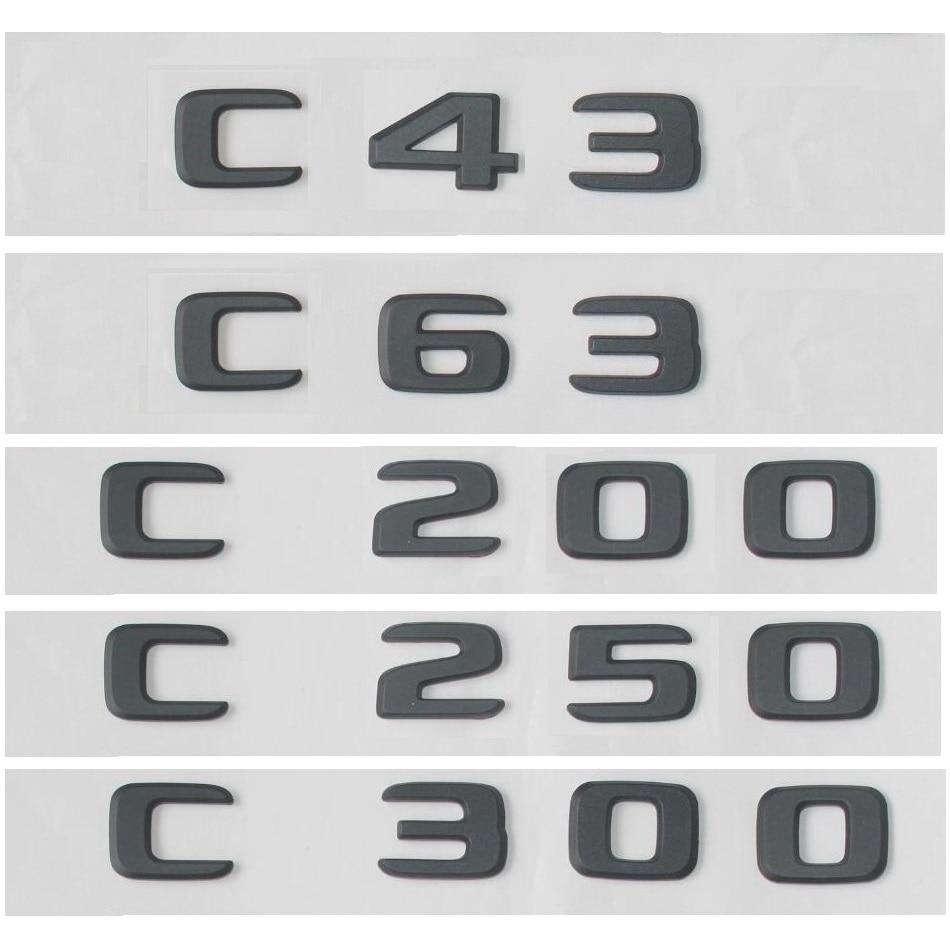 Matt Black C220 Flat Lettering Rear Boot Lid Trunk Badge Emblem For Benz C Class W202 AMG Models W203 W204 W205