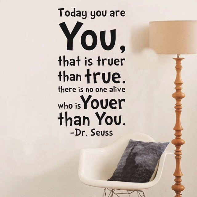 Today You Are English Quote Dr Seuss Black Wall Stickers Art Vinyl