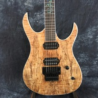 Chinese Music Instrument Natural Wood Grain Finish Custom Shop Electric Guitars With Black Floyd Rose Tremolo