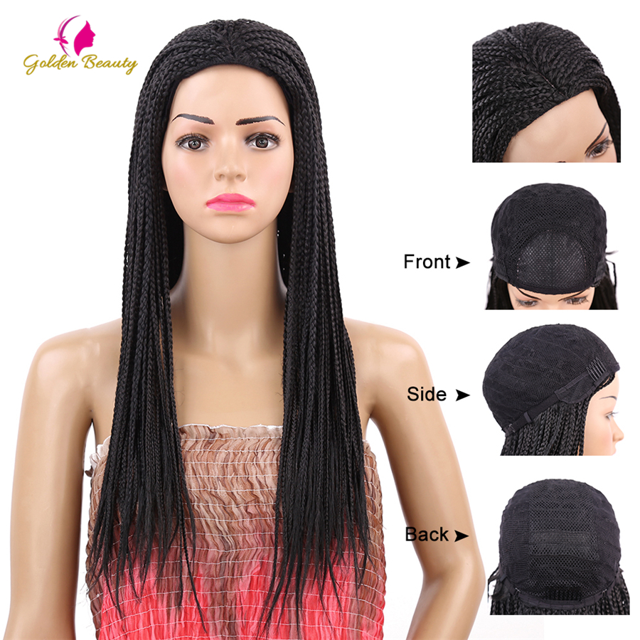 Image 2 - Golden Beauty 22inch Long Braided Box Braids Wig Natural Black Brown Synthetic Braiding Hair Wig for African Women-in Synthetic None-Lace  Wigs from Hair Extensions & Wigs