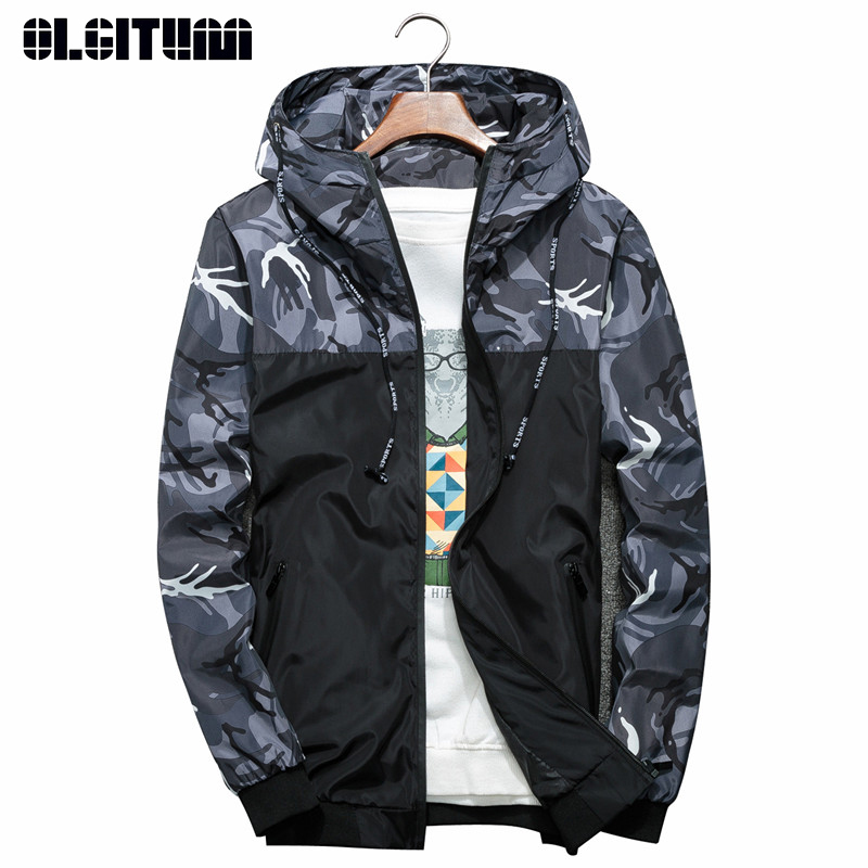 Spring Autumn Men Bomber Jacket 2019 Casual Slim Hooded Long Sleeve Camouflage Military Jackets Male Windbreaker Outwear M-6XL