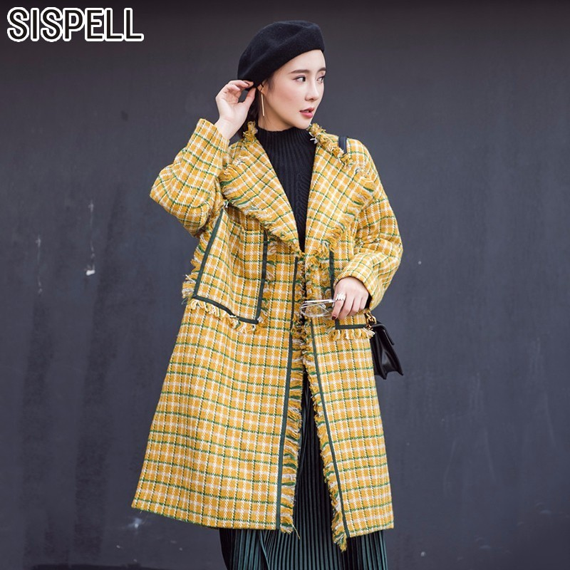 SISPELL Autumn Plaid Women's Windbreaker Trench Coat Female Hit Colors Tassel Plaid Loose Big Size Women Basic Coats Clothes