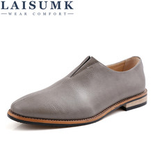 2019 LAISUMK Men Shoes Leather Top Brand Men's Oxfords Dress Shoes Spring Autumn Loafers Fashion Flats Casual Male Man Shoes цены онлайн