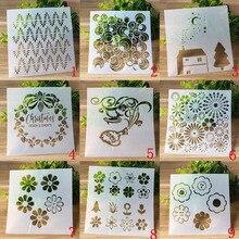 9pc/set Bullet Journal Templates Reusable Bubble Flower Stencils For Diy Scrapbooking Stencil Painting Decoration